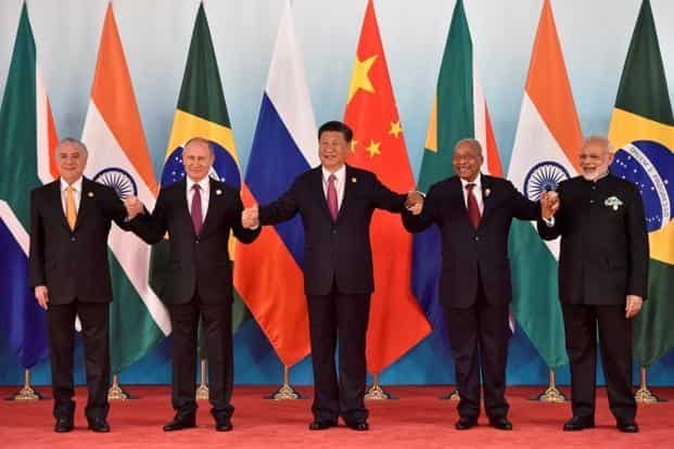 Leaders of Brazil, Russia, China, South Africa and India at the BRICS Summit in Xiamen on Monday. Photo: Reuters
