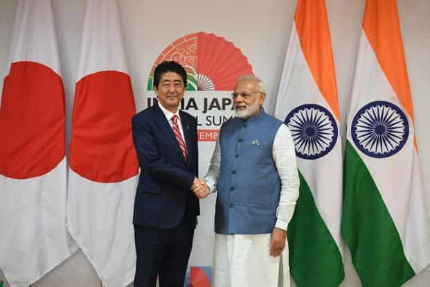 Shinzo Abe (left), who arrived in Gujarat's commercial capital Ahmedabad on Wednesday, is in India for the 12th India-Japan annual summit, along with PM Narendra Modi. Photo: AFP