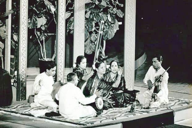 M.S. Subbulakshmi at her historic United Nations concert on 23 October 1966. Courtesy Krishnamoorthy