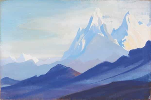 Nicholas Roerich's 'Himalayas' (1940, estimated price Rs1.2-1.8 crore)  will be up for sale at Saffronart auction in Delhi on 21 September. Photo: Saffronart