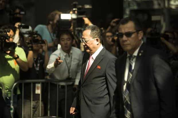 North Korea's foreign minister Ri Yong-Ho departs after speaking to reporters at the UN Millenium Plaza hotel in New York City. Photo: AFP