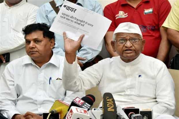 Activist Anna Hazare on Sunday threatened to launch a new movement for Lokpal by the end of the year or early next year. Photo: PTI