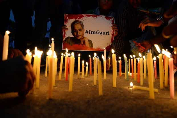 Gauri Lankesh was shot multiple times outside her home in Raja Rajeshwari Nagar at around 8pm on 5 September by unknown persons. Photo: AFP