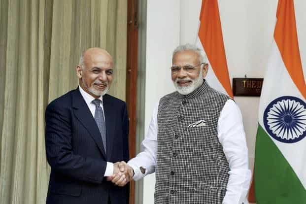PM Narendra Modi and Afghanistan President Ashraf Ghani during the latter's day-long India visit, in New Delhi on Tuesday. Photo: PTI
