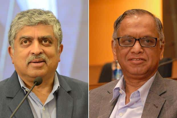 Infosys chairman Nandan Nilekani (left) and co-founder N.R. Narayana Murthy. The clean chit to Panaya acquisition is seen as limiting Infosys's ability to attract external candidates for the CEO's post that fell vacant when Vishal Sikka quit in August. Photo: Mint