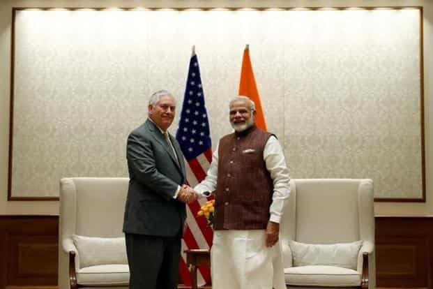 US secretary of state Rex Tillerson (left) with PM Narendra Modi in New Delhi on Wednesday. Photo: Alex Brandon/Reuters