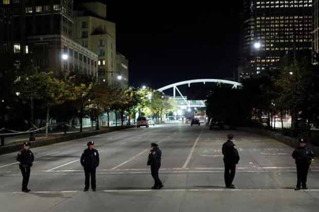 Police block a section of the West Side Highway following the pick-up truck attack in Manhattan on Tuesday. Reuters