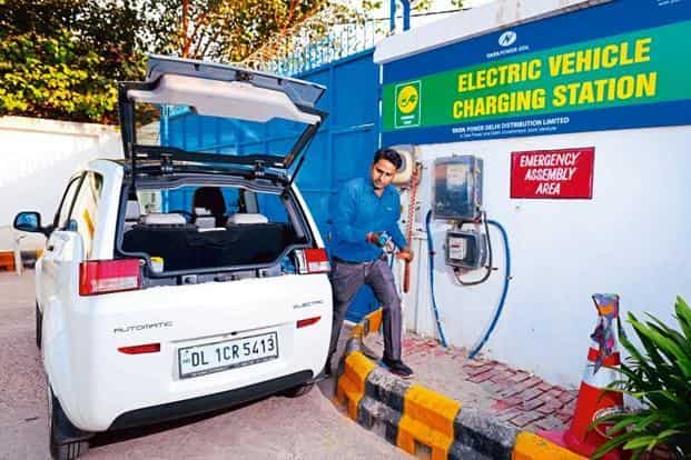 An Electric Vehicle Charging Station Run By Tata Delhi Distribution Ltd At Maurice Nagar In