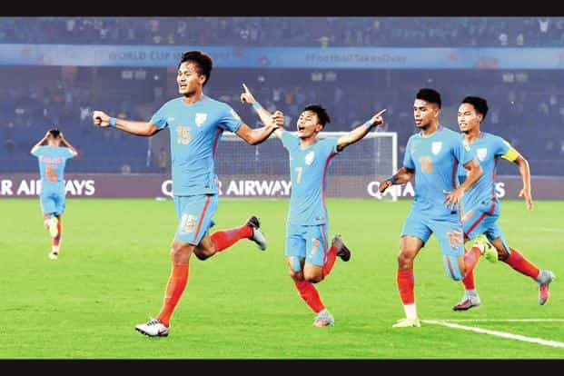 In the 82nd minute of their second match against Colombia, Thounaojam Jeakson Singh, leapt to head home Sanjeev Stalin's corner and level the score at 1-1. Photo: PTI