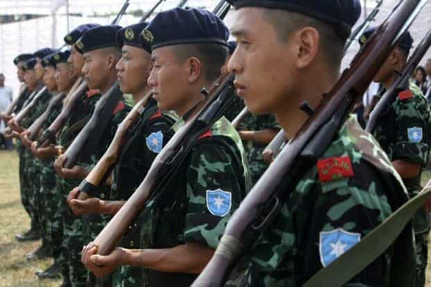 A file photo. Cadres of the separatist group the National Socialist Council of Nagaland - Isak Muivah (NSCN-IM). Photo: AFP
