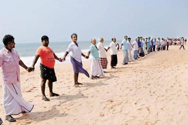 Family members of fishermen at a protest in Kanyakumari. Photo: PTI