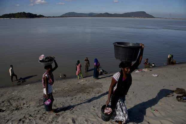 Brahmaputra water became muddy and cement-like apparently due to construction of a 1000km tunnel by China to divert waters of the river which originates in Tibet. Photo: AP