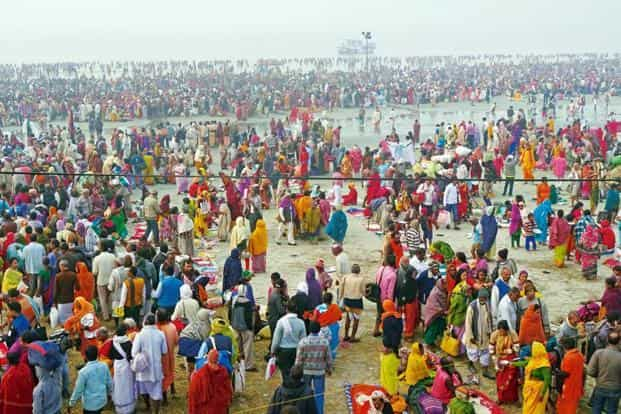 Crowds gather for the annual festival in January 2016 on Sagar Island, where the Ganga flows into the Bay of Bengal.