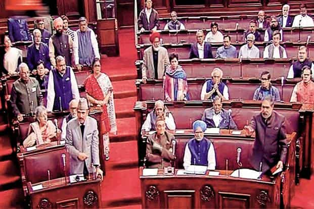 Leader of opposition Ghulam Nabi Azad (left) and other Congress leaders in the Rajya Sabha on Monday. Photo: PTI
