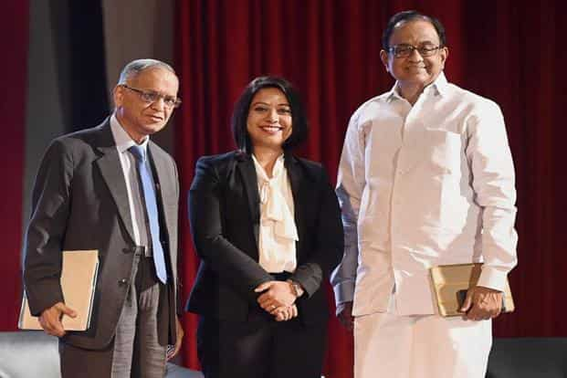 Infosys co-founder N.R. Narayana Murthy, journalist Faye D'Souza and former finance minister P. Chidambaram at the 47th edition of Mood Indigo at IIT Bombay, in Mumbai on Friday. Photo: PTI