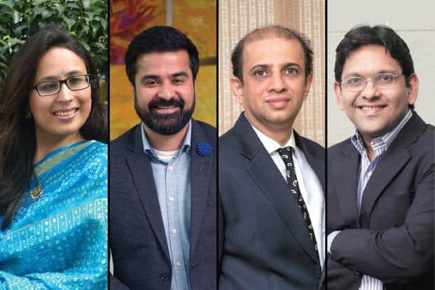 From left to right: Radhika Gupta, Aashish P. Somaiyaa, Nimesh Shah, and Kalpen Parekh
