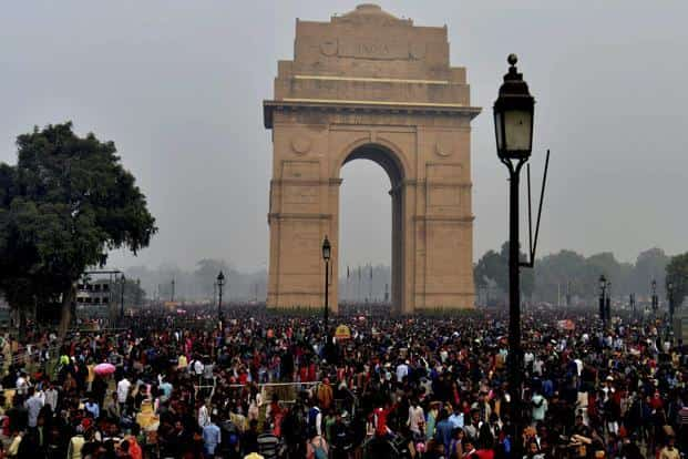 People visit India Gate in New Delhi on the first day of 2018 on Monday. Photo: PTI