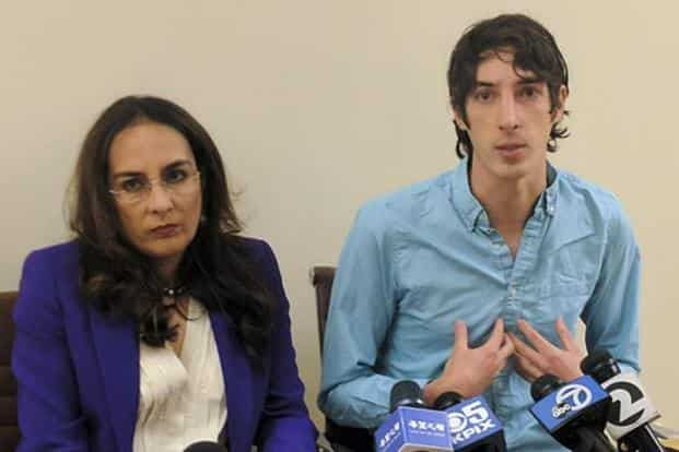 James Damore, right, a former Google engineer fired in 2017 after writing a memo about the biological differences between men and women, speaks at a news conference and his attorney Harmeet Dhillon. Photo: AP