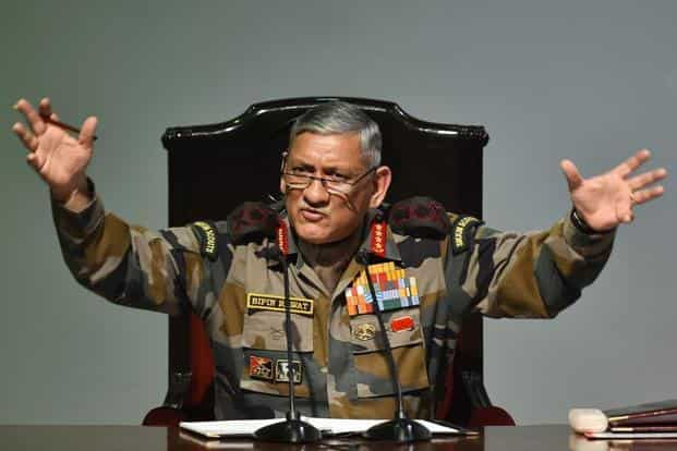 Army chief Bipin Rawat addresses a press conference in New Delhi on Friday. Photo: PTI