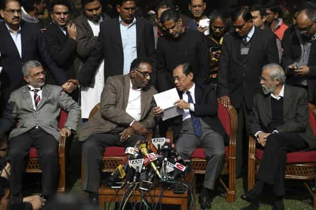 In an unprecedented move, justices J. Chelameswar, Ranjan Gogoi, M.B. Lokur and Kurian Joseph, had launched a public attack against the CJI, listing a litany of problems, including the issue of assigning of cases. Photo: AP