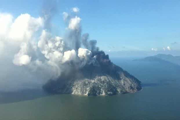 The remote island volcano of Kadovar spews ash into the sky in Papua New Guinea. Photo: Reuters