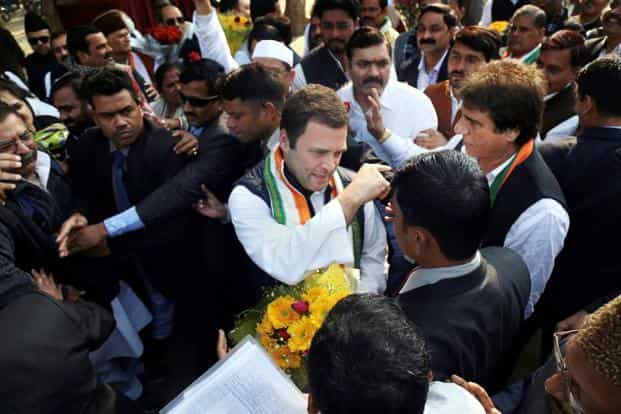 Congress President Rahul Gandhi being received by UPCC president Raj Babbar and other party workers on his arrival at Chaudhari Charan Singh Airport in Lucknow on Monday. Photo: PTI