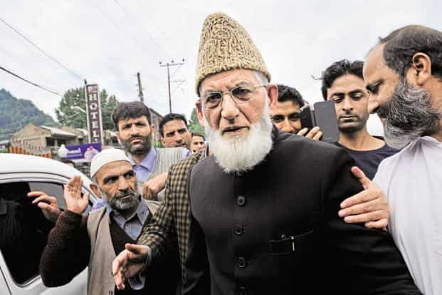 The NIA FIR named Lashkar-e-Taiba chief Hafeez Saeed as an accused, besides organisations such as the Hurriyat Conference (factions led by Syed Ali Shah Geelani, above, and Mirwaiz Farooq), Hizbul Mujahideen and Dukhtaran-e-Milat. Photo: Hindustan Times
