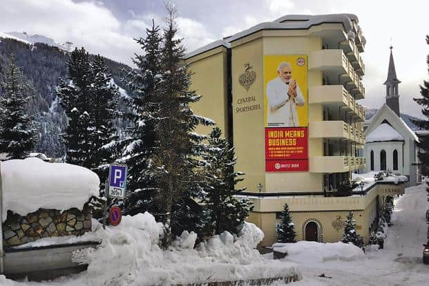 A poster of Prime Minister Narendra Modi in Davos. Modi will be the first prime minister to represent India at the World Economic Forum in over 20 years.