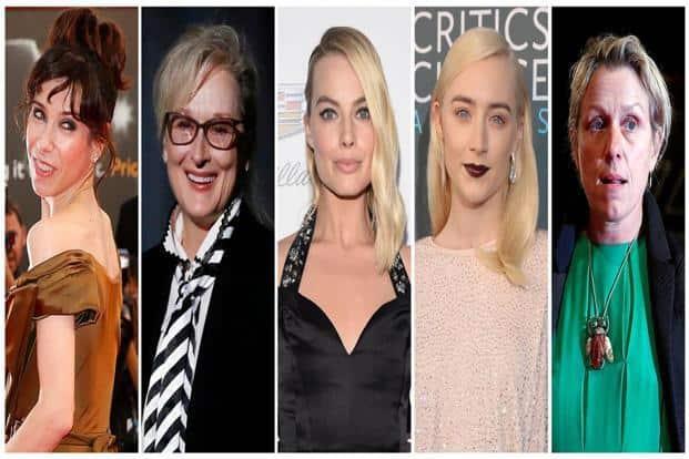 Nominees for the 90th Oscars, Best Actress Awards (L-R) Sally Hawkins, Meryl Streep, Margot Robbie, Saoirse Ronan and Frances McDormand. Photo: Reuters