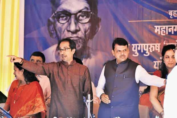 A file photo of Shiv Sena chief Uddhav Thackeray (left) and BJP's Maharashtra chief minister Devendra Fadnavis. The two parties are part of the ruling alliance in the state and at the centre. Photo: HT
