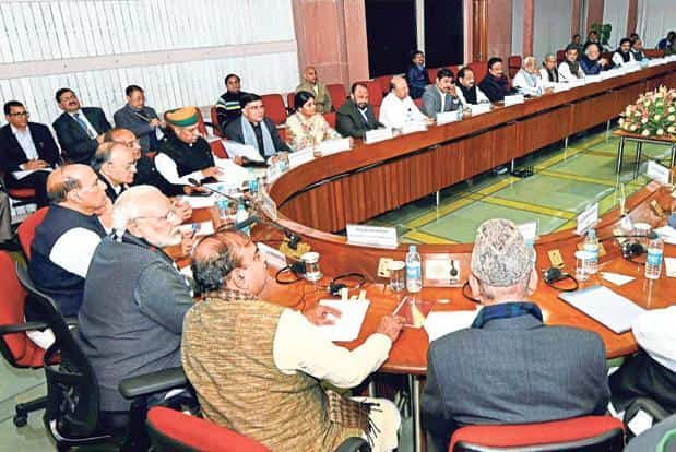 PM Narendra Modi with key Union ministers and opposition leaders at an all-party meeting in New Delhi on Sunday. Photo: PTI