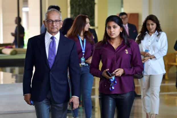 Kolkata Knight Riders co-owner Jay Mehata, Juhi Chawla arrive during the IPL auction 2018 at a hotel in Bengaluru on Saturday. Photo: PTI