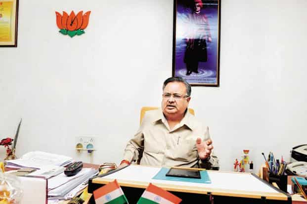 """Chhattisgarh CM Raman Singh. Niti Aayog has given an """"in principle"""" approval to various proposals related to roads, telecommunication, education, LPG and banks for the overall development of Chhattisgarh's Bastar region. Photo: Ramesh Pathania/Mint"""