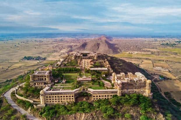 An aerial view of Tijara Palace-Fort. Photo courtesy Neemrana Hotels