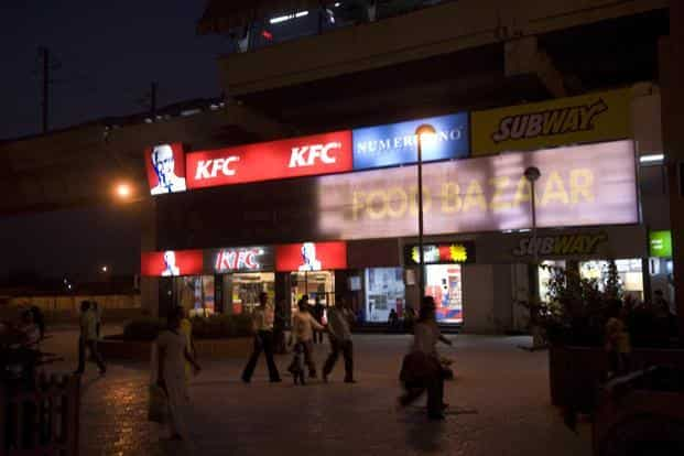 Globally, Yum! Brands Inc., owner of KFC, Pizza Hut and Taco Bell, reported a 16% decline in total revenues for the December quarter at $1.57 billion as compared with $1.88 billion in the corresponding year-ago quarter. Photo: Mint