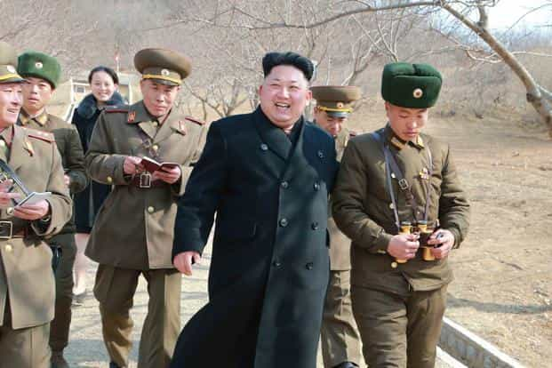 Kim Jong Un was expected to carefully control the military parade's message with South Korea's newspaper reporting that North Korea had rescinded invitations to foreign journalists. Photo: AFP