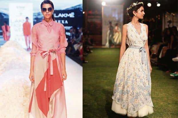 (clockwise, from left) Anita Dongre used R|Elan™ in her LFW Spring/Resort 2018 show, a Rajesh Pratap Singh dress made of Tencel®