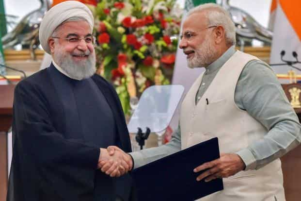 Prime Minister Narendra Modi with Iranian President Hassan Rouhani at Hyderabad House in New Delhi on Saturday. Photo: PTI