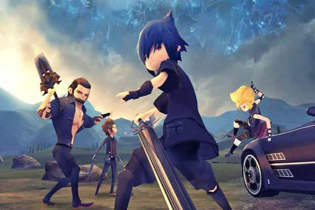 Final Fantasy XV: Pocket Edition game looks more cartoonish yet takes up 5GB of space, while player movement and actions can be controlled through tap and swipe gestures.