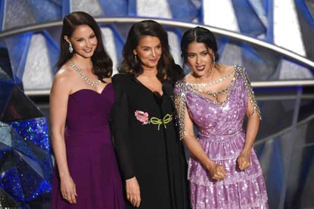 """Three of Harvey Weinstein's accusers, Ashley Judd, Annabella Sciorra and Salma Hayek, took to the stage to present a montage of """"trailblazers"""" that included Kumail Nanjiani and Daniela Vega. Photo: AP"""