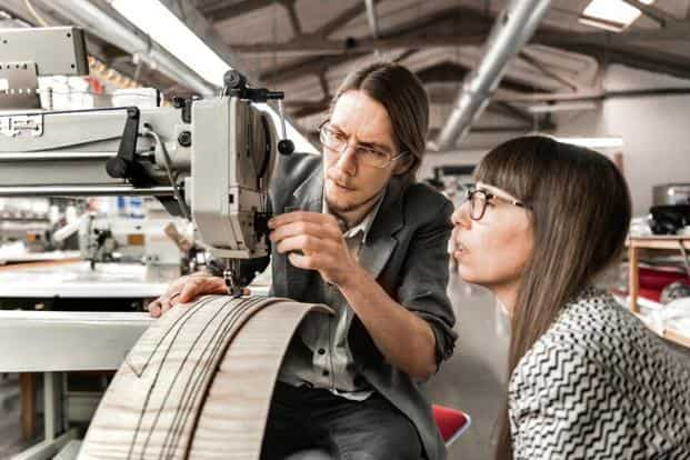 Swedish designers Färg & Blanche at their studio, using a 'wood-tailoring' technique. Photo: Färg & Blanche