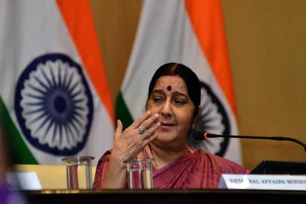 External affairs minister Sushma Swaraj addressing a press conference giving details of the 29 Indians killed by the Islamic State in Iraq. Photo: Ramesh Pathania/Mint