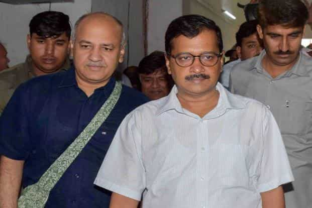 Delhi chief minister Arvind Kejriwal and his deputy Manish Sisodia arrive to present the Budget for 2018-19 in the Assembly in New Delhi on Thursday. Photo: PTI