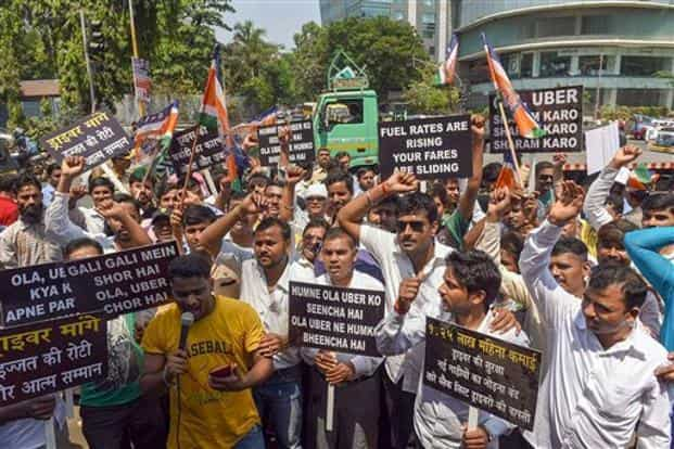 On 19 March, drivers of Uber and Ola went on an indefinite strike to protest 'low profit margins'. Photo: PTI