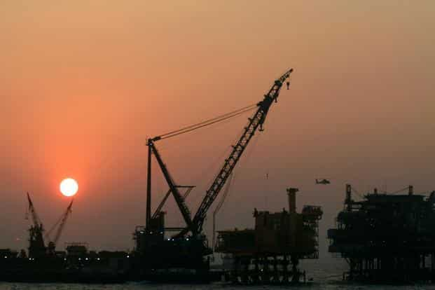 An oil drilling platform of ONGC at Bombay High. The increase in gas price will boost earnings of producers like ONGC and RIL, but will also lead to a rise in the prices of CNG and piped cooking gas, which use natural gas as input. Photo: Bloomberg