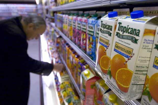 Tropicana, which was launched in India in 2004 as 100% juice and then extended to other juice-based drinks, generated business of 'more than Rs1,000 crore' in 2017. Photo: Bloomberg