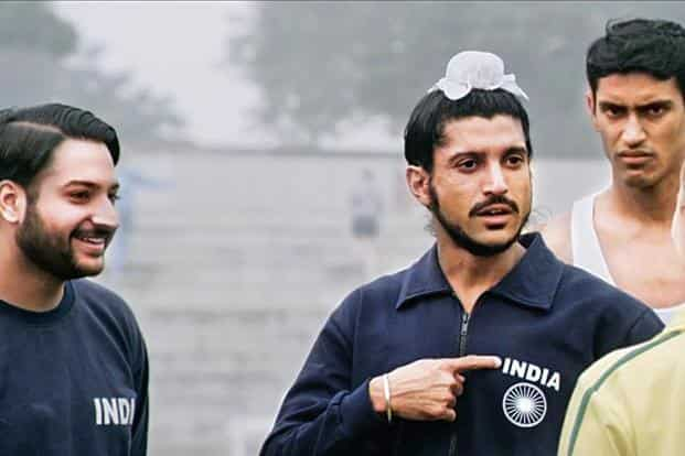Farhan Akhtar as runner Milkha Singh in 'Bhaag Milkha Bhaag'.