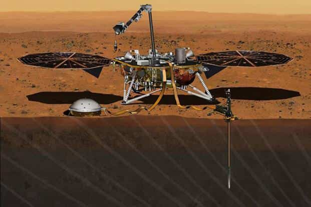 An illustration provided by Nasa depicts the InSight lander on Mars after the lander's robotic arm has deployed a seismometer and a heat probe directly onto the ground. Photo: Nasa
