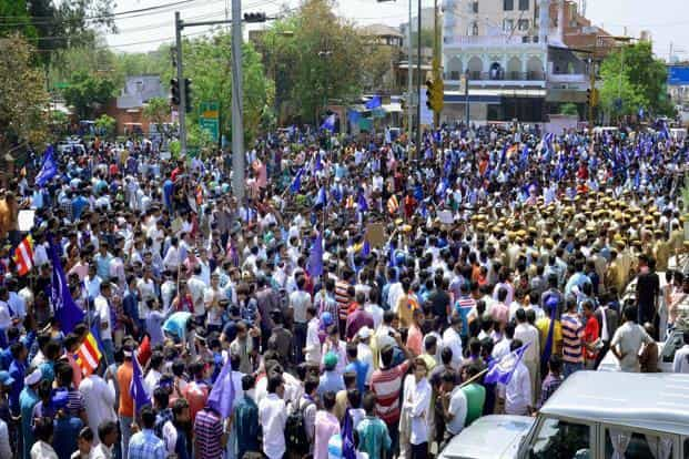 A file photo of Dalit protests during the Bharat Bandh on 2 April. Photo: PTI