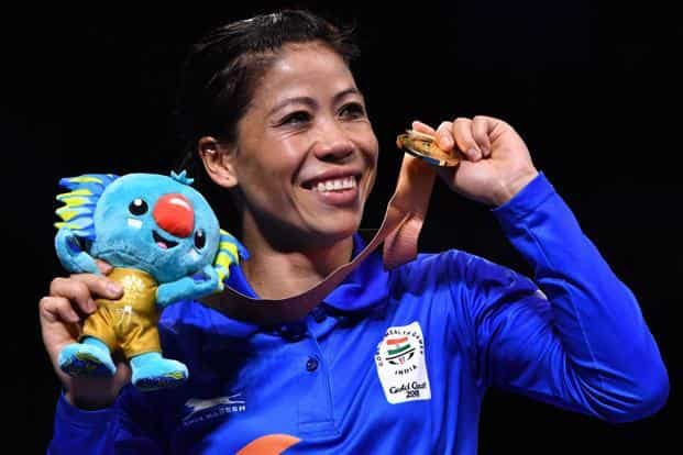 Mary Kom poses with her gold medal after beating Northern Ireland's Kristina O'Hara in women's 45-48kg final boxing match during the 2018 Gold Coast Commonwealth Games at Gold Coast on 14 April 2018. Photo: AFP